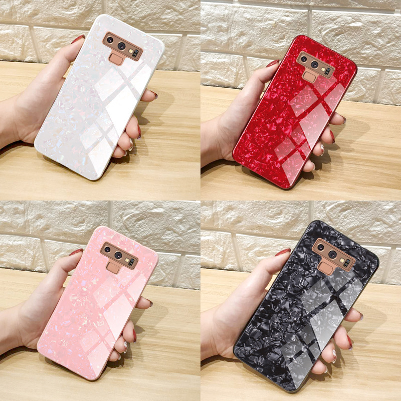 2019 Luxury Marble Tempered Glass Case for Samsung S8 S8plus case Shell powder S9 S9plus case S10 S10plus fundas Note8 Note9capa in Fitted Cases from Cellphones Telecommunications