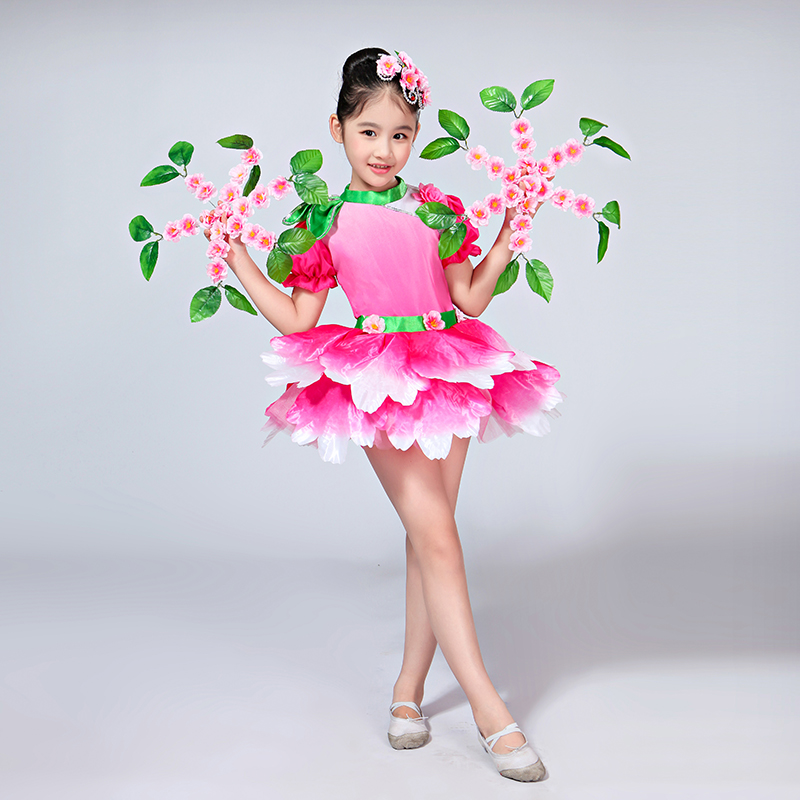 Contemporary Flower Dancewear Girls Dance Costume Kids Salsa Dance Dress Of Girl Dance Wear Dancing Dress Of Girl