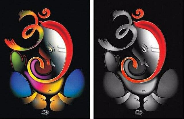 100% Hand painted Om Ganesha Ganpati Oil Painting On ...