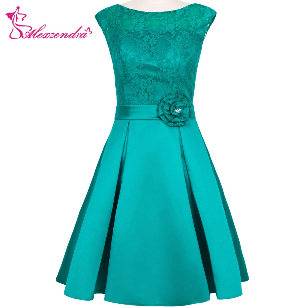 Alexzendra Green Short Mini   Bridesmaid     Dresses   with Belt Simple Knee Length   Bridesmaids   Gown Plus Size
