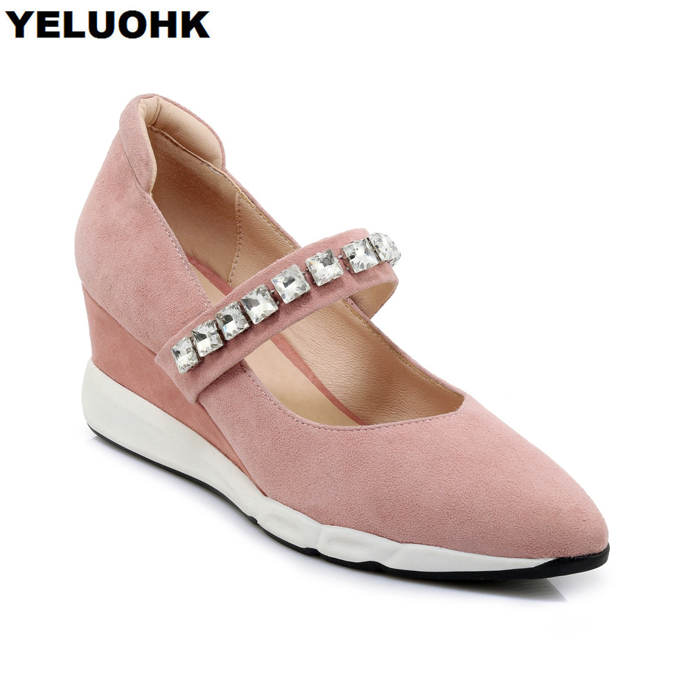 2018 Autumn Rhinestone Shoes Women Wedges Fashion Mary Janes Shoes Women High Heels Comfort Pointed Toe Ladies Pumps Shoes large size 42 rhinestone shoes women low heel pumps pointed toe genuine leather shoes women high heels mary janes ladies shoes