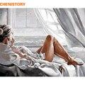 CHENISTORY рамка рисунок DIY картина по номерам Женская Современная Настенная живопись холст каллиграфия для домашнего декора 60х75см