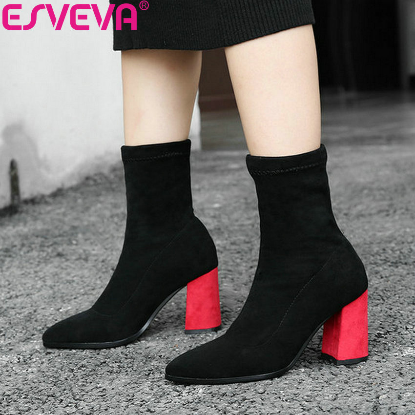 ESVEVA 2019 Winter Woman Boots Pointed Toe Shoes Slip on Women Ankle Boots Square Heel Sewing Shoes Short Plush High Heels 34-42 esveva 2019 women shoes mid calf boots round toe med heels winter boots short plush slip on height increasing snow boots 34 43