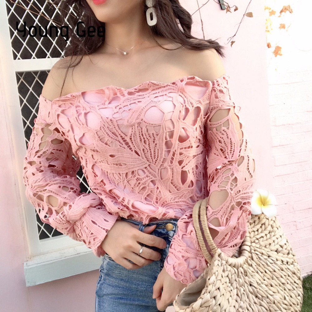 3cbd117456 Young Gee Women Tops Spring Sexy Slash Neck Blusas Off Shoulder Lace Shirt  Floral Hollow Out Lantern Sleeve Casual Short Blouses