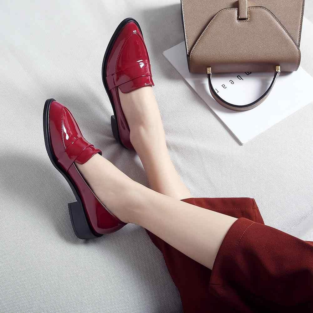 FOREADA Vrouwen Flats Loafers Schoenen Lakleer Platte Casual Schoenen Mode Wees Teen Vrouwelijke Schoenen Lente Red Big Size 33 -43 10