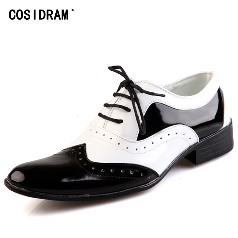 COSIDRAM Business Wedding Patent Leather Oxford Shoes For Men Dress Shoes Men Formal Shoes Pointed Toe RME-326