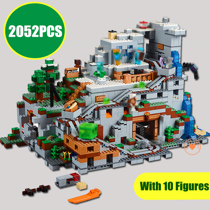 NEW The Mountain cave Compatible with 21137 minecrafted Figures city model Building Blocks Bricks Kits Toy Children Gift kid my world figures toy building blocks compatible with legoinglys minecrafted city 4 in 1 diy garden bricks toy gift for kid