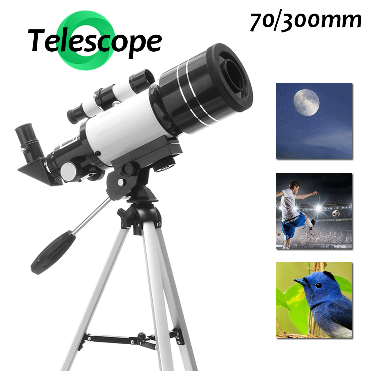 70/300mm Refractor Hunting Spotting Scope 150X 90 Degree Angle Astronomical Telescope Zoom Birdwatching Monocular Lens Tripods 40x60 hunting monocular telescope zoom optic lens binoculars spotting scope coating lenses dual focus optic lens
