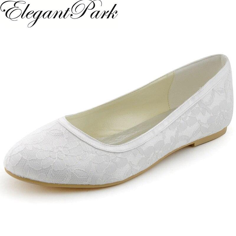 Women Flats EP11104 White Ivory Round Toe Lace Comfortable Bride Ballets Bridal Wedding Shoes