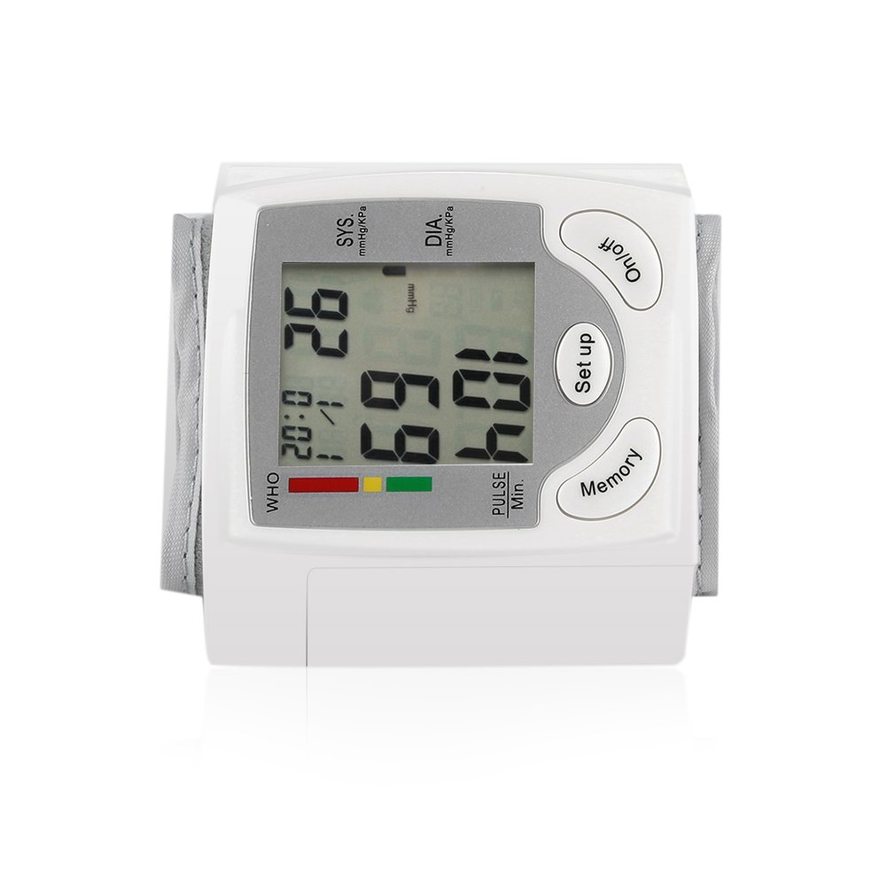 Automatic Digital LCD Display Wrist Blood Pressure Monitor Heart Beat Rate Pulse Meter Measure White Convenient