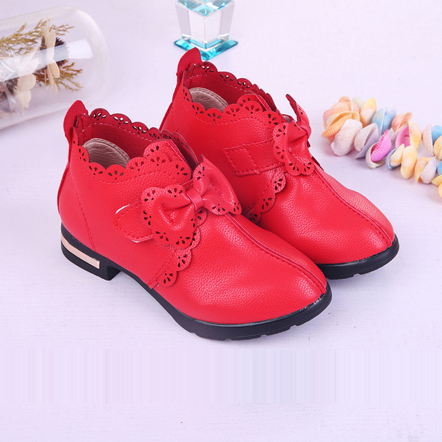 New Kids Girls Red Bowknot High-heeled Leather Dress Shoes For Girls Wedding And Party Shoes 5 6 7 8 9 10 11 12 13 Years Old 34