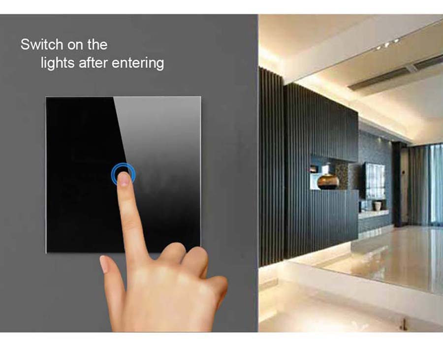 2-Touch Switch-Light Switch-Touch Switch-Wall Light Switches-Fireproof Crystal Glass Panel-Wall Mounted Switch-for Home Hotels