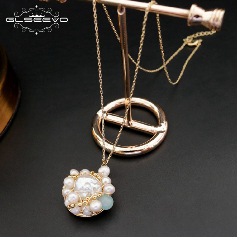 GLSEEVO 925 Sterling Silver Natural Green Stone Fresh Water Baroque Pearl Necklace Women Necklaces Luxury Fine Jewelry GN0051 glseevo natural fresh water pearl chokers necklace for women handmade necklaces luxury fine jewelry gargantilha kolye gn0047
