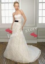 MORI-Free Shipping Fashion Custom Made 2013 Elegant A-Line Strapless Floor Length Court Lace Ribbon Wasit Flower Wedding Bridal