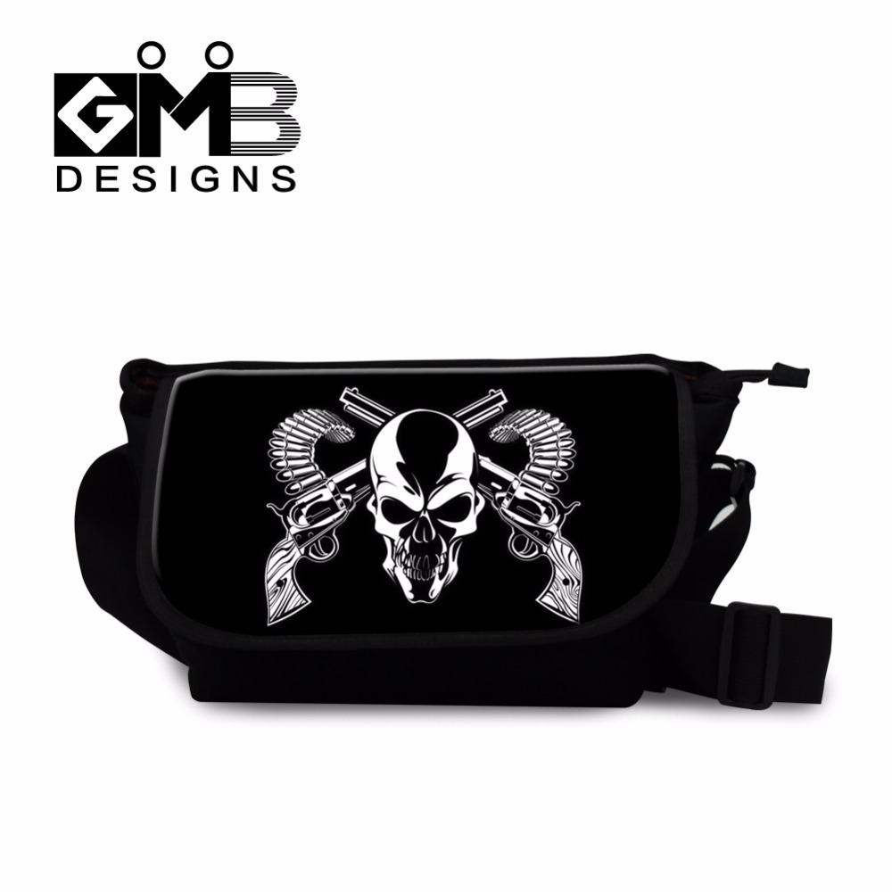 Us 19 79 40 Off Cool School Messenger Bags For Children Boys Medium Cross Body Skull Side Agers Mens Canvas Shoulder In