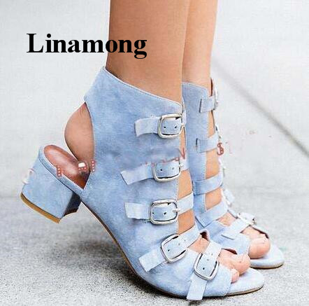 Summer Fashion Buckle Strap Square Heel Sandals Denim Fabric Solid Casual Square Heel Women Sandals fashion sexy women summer sandals gladiator black red solid sandals buckle strap nubuck leather thick heel sandals us size 5 9