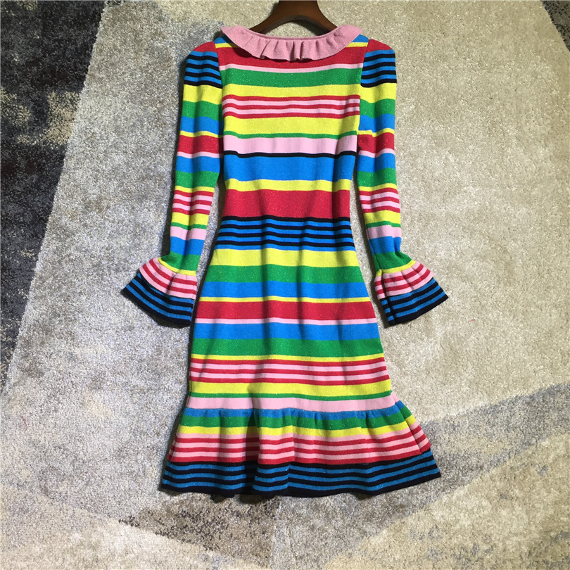 47604573223 Women fashion cute rainbow striped lurex wool knit sweater dress long  sleeve ruffles mermaid dresses new 2018 autumn winter-in Dresses from Women s  Clothing ...