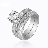 Boho Female Crystal White Round Ring Set Brand Luxury Promise Silver Engagement Ring Bridal Wedding Rings for Women