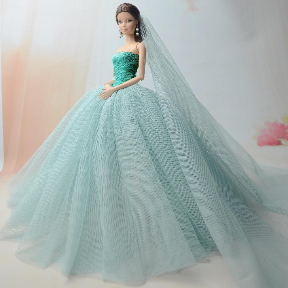 NK-Doll-Dress-High-quality-Handmade-Long-Tail-Evening-Gown-Clothes-Lace-Wedding-Dress-Veil-For-Barbie-16-Doll-Best-Gift-1