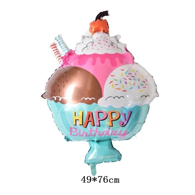 Wholesale 10pcs Lot Ice Cream Balloons Happy Birthday Decorations Air Inflatable Helium Kids Toys