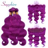 Сапфир человеческого тела волна 3 пучки волос с закрытием кружева фронтальной фиолетовый цвет перуанской волос Волосы remy