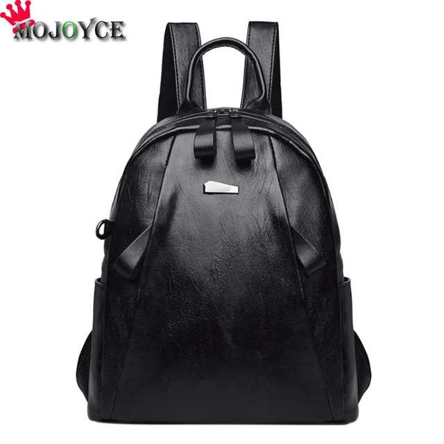 07fb9ba17357 Women Zipper PU Leather Shoulder Bag for Teenagers Students College School  Daypack Backpack Fashion Girls Solid