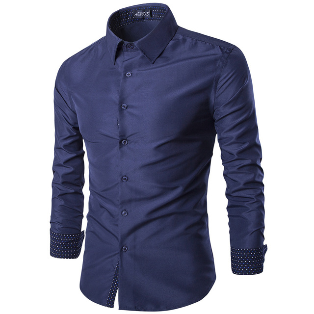 Solid Mens Shirts Cusual Business Shirt Turn down Collar Office ...