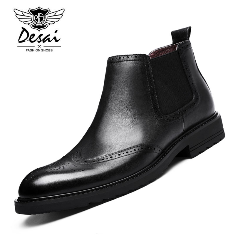 Desai Brand Genuine Leather Shoes Bullock Man Pointed Toe Shoes Fashion British Style Short Martin Boots for Men Size 38-43 cunddio new product low to help bullock restoring ancient ways genuine leather british the stylist pointed men s shoes 38 46
