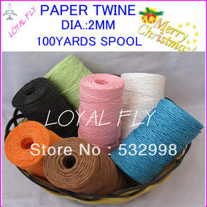 5pcs/lot free shipping 10 color mix color paper twine 100yards/spool, craft DIY twine for gift strapping Fine Arts