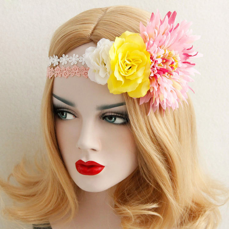 Elastic Headbands for Women Girl Boho Wedding Multi Flower Crown Pink White Lace Hair Garland Wreath