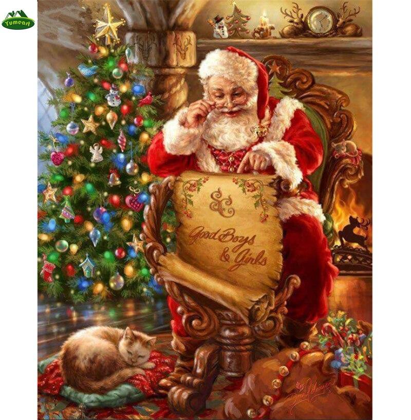 YUMEART рождественской елки алмазов картина Санта Клаус и милый кот Животные Вышивка крестом 3D современный дом моды Decora