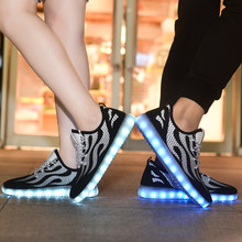 New Style Lovers Flame LED Luminous Sneakers Men Outdoor Breathable Flats Boys Flash USB Charging Sport Running Shoes Size 35-44(China)
