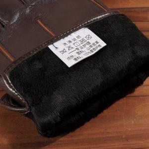 Image 5 - Gours冬の新メンズ本革手袋ゴートスキンミトンブラウンプラスベルベット暖かいファッション駆動GSM037