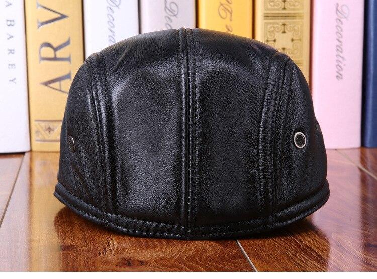 mens winter sheepskin leather baseball caps (9)