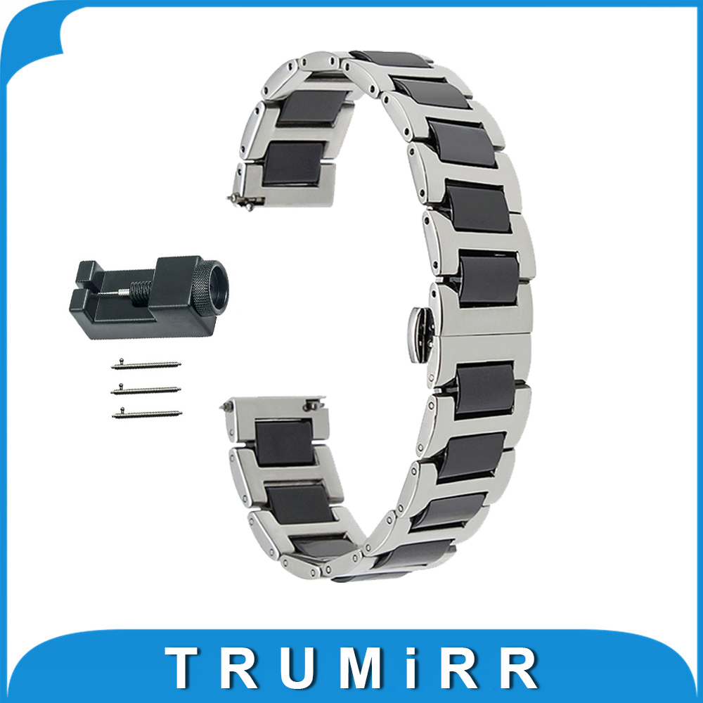 18mm 20mm 22mm Ceramic + Stainless Steel Watch Band for Armani Butterfly Buckle Strap Quick Release Wrist Belt Bracelet + Tool