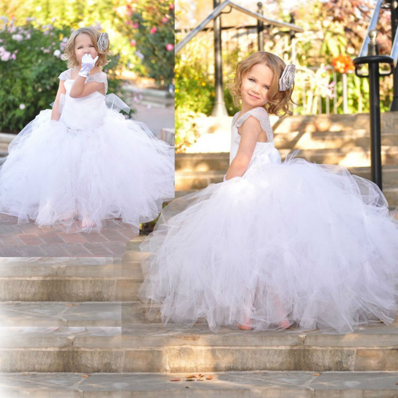 ФОТО Free Shipping Newest Summer Girls party dress kids Clothes Wedding Full Ball Dress White Princess Dancing Costume