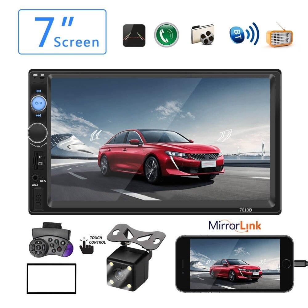 Autoradio voiture Mp5 lecteur Autoradio Bluetooth mains libres Radio Aux 2 Din tactile voiture Audio stéréo Support inverse image Mirrorlink