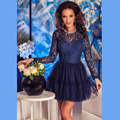 Dark Navy Lace Cocktail Dresses Long Sleeves Mini Length Tulle Ruffle Jewel Neck Formal Party Gowns Sexy Backless Robe De Soiree