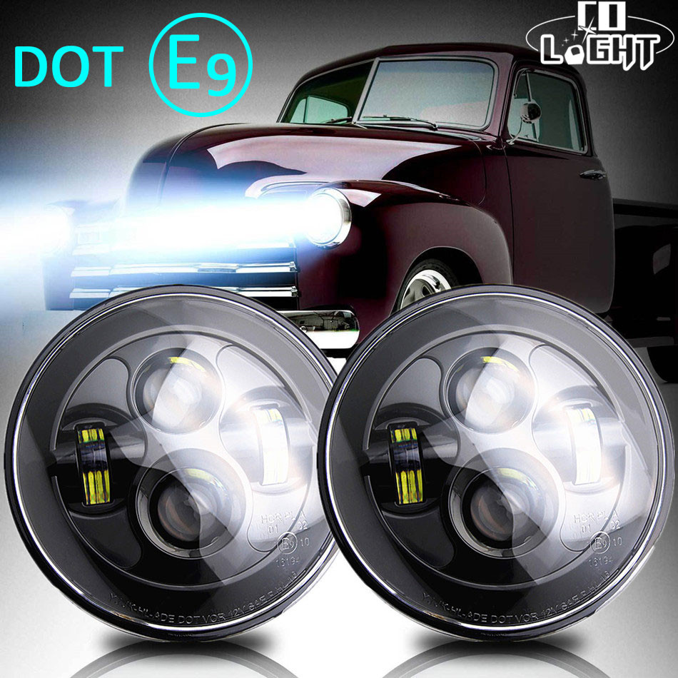CO LIGHT 7Inch Round Led Headlight 12V 24V Auto 50W 30W High-Low Beam DRL for Off Road Toyota Passat Mazda Lada Jeep Car-styling 2017 luxury pu leather auto universal car seat cover automotive for car lada toyota mazda lada largus lifan 620 ix25