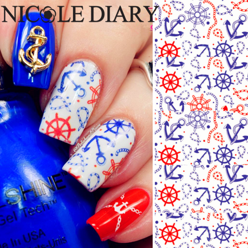 NICOLE DIARY-39 Nail Art Water Decals Nail Tips Beauty Featuring Pattern Water Transfer Nail Art Tattoo 25973 featuring featuring fe017ewgkq27