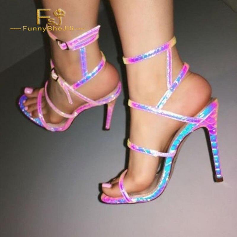 Rose Automne Fsj01 Femmes Taille Bout Pompes La 13 Python Chaussures 2018 Talons Ouvert Dames 12 S Plus Aiguilles À Printemps Sexy Shoes11 Holographique Zqqgtfr