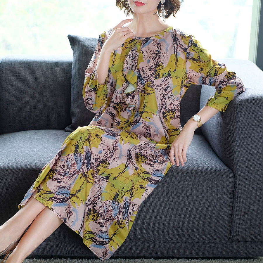 2019 New Vintage Floral Silk Boho Midi Dresses Summer 3XL Plus Size Print Loose Beach Maxi Sundress Elegant Women Party Vestidos in Dresses from Women 39 s Clothing