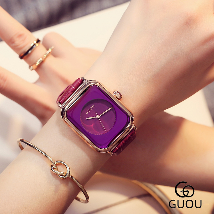 GUOU Top Brand Simple Fashion Watch Rectangle Dial Genuine Leather Quartz Watch Women Watches Lady Hour Clock relogio feminino classic simple star women watch men top famous luxury brand quartz watch leather student watches for loves relogio feminino