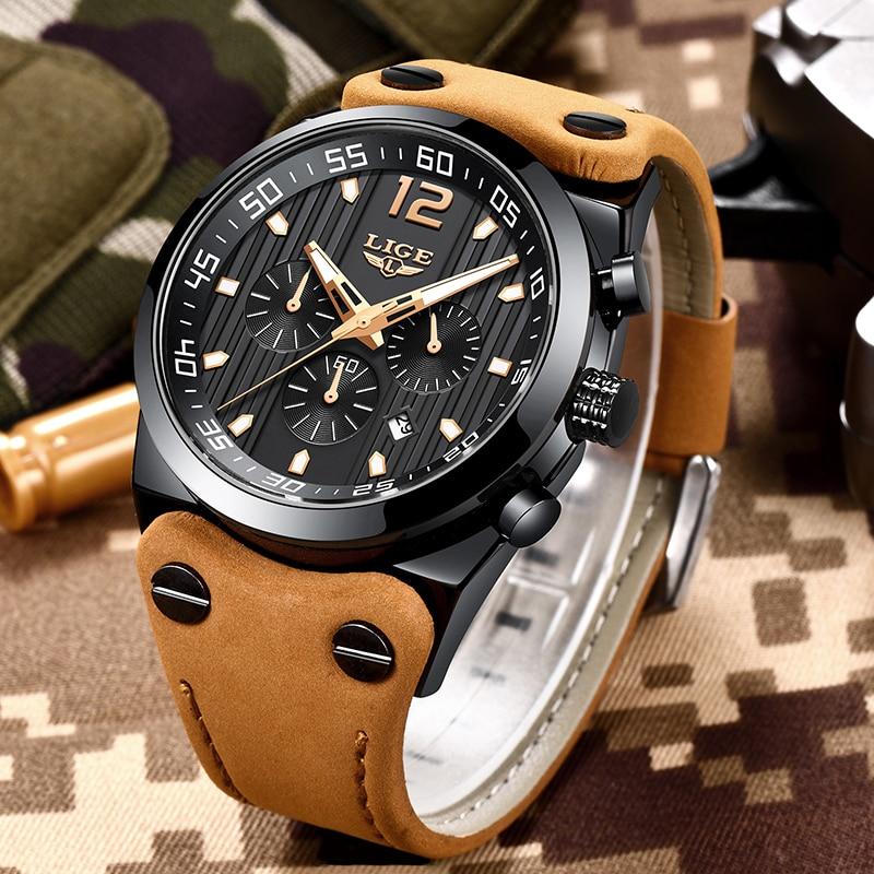 LIGE Luxury Brand Chronograph Sport Mens Watches Fashion Military Waterproof Leather Quartz Watch Men Clock Relogio Masculino цена