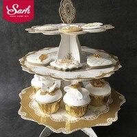 יוקרתי אירופאי רטרו משחת ברונז 3 שכבה עוגת עמדת נייר אספקת מסיבת חגיגת יום הולדת חתונה שולחן קינוח