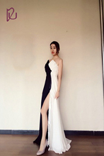 White And Black V Neck Split Leg Beautiful Evening Dresses Prom Gowns
