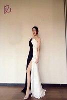 White And Black V Neck Split Leg Beautiful Evening Dresses Prom Gowns