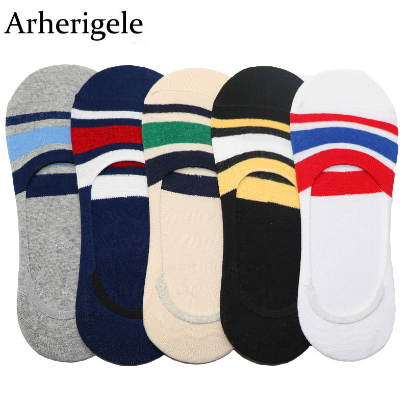 Arherigele 3pair Men Socks Summer Striped Designed Male Boat Socks Fashion Silicone Gel Non-slip Slippers Shallow Mouth Socks
