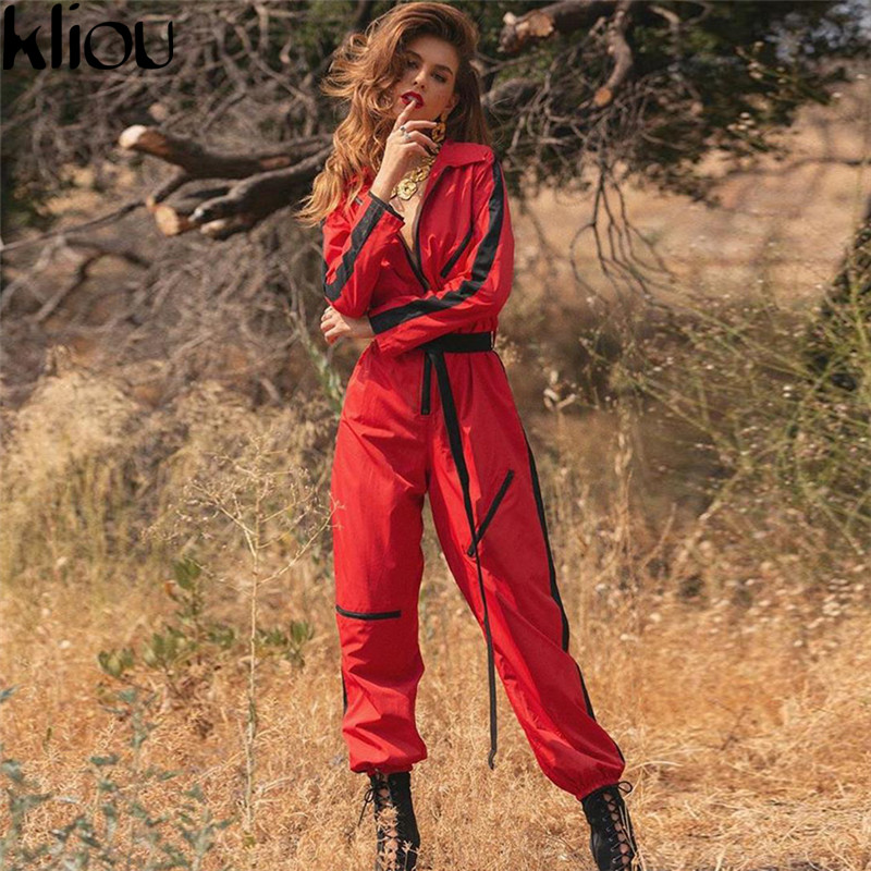 Weirdgirl autumn winter women fashion full sleeve   jumpsuits   sashes zipper turn-down collar striped patchwork workout   jumpsuits