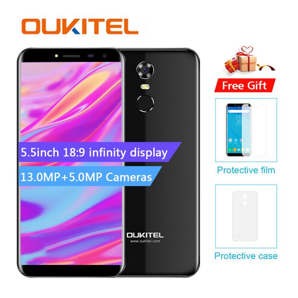 Oukitel C8 5.5 pouces 18:9 Mtk6580A téléphone Mobile Quad Core 2G RAM 16G ROM 13mp Android 7.0 3000 mah identification tactile empreinte digitale Smart Pho